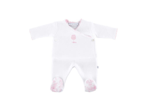 Theophile & Patachou Theophile & Patachou Bloes Jersey Gewafeld + Broek Wit/Roze