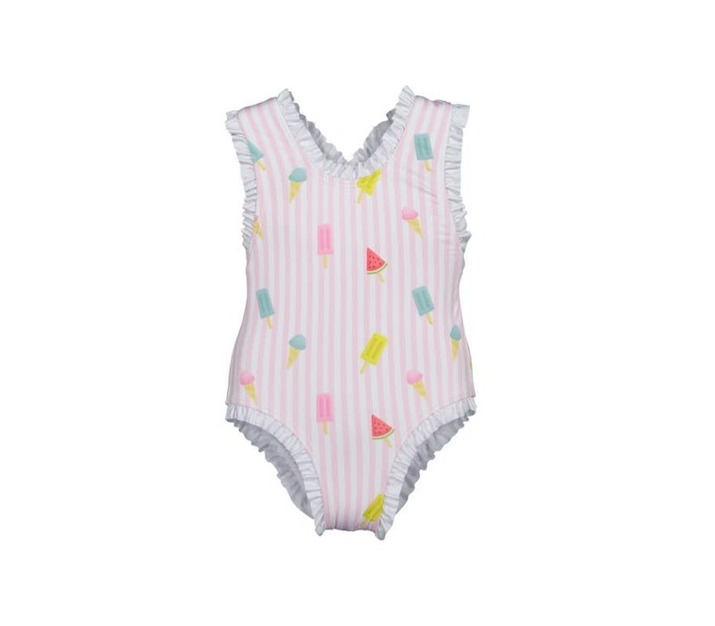 Maria Bianca Stripy Pink Colourful Popsicles Bathing Suit