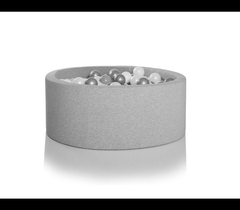 Kidkii Ballenbad Rond Cotton Light Grey 125x40 + 400 Ballen Inclusief