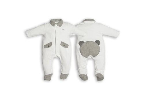 My First Collection First Chevron Combi Teddy On Backside White-Grey