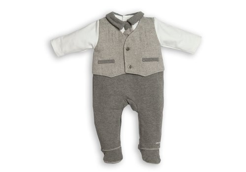 My First Collection First Chevron Combi Waistcoat White-Grey