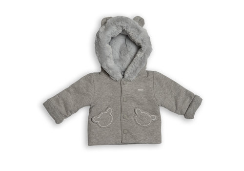 My First Collection First Class Coat Teddy Head Pockets Grey
