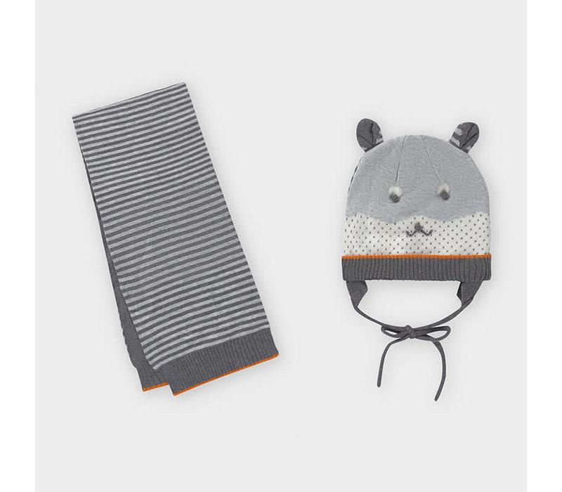 Mayoral Stripes Hat-Scarf Set Brg Cement