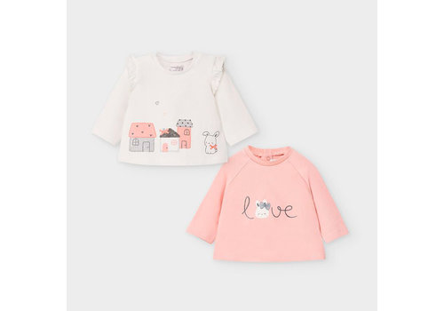 Mayoral Mayoral 2 L/S T-Shirts Set Dusty Pink