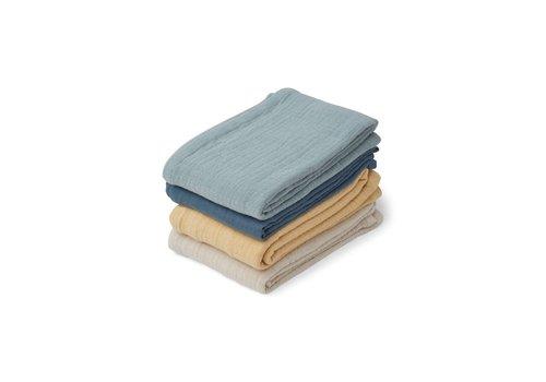 Liewood Liewood Leon Muslin Cloth 4-Pack Blue Mix