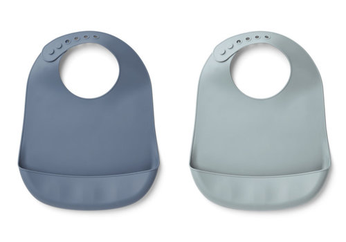 Liewood Liewood Tilda Silicone Bib Solid 2-Pack Blue Wave/Sea Blue Mix