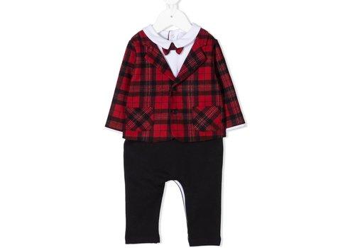 Patachou Patachou Baby Boy Playsuit Knit Red Check