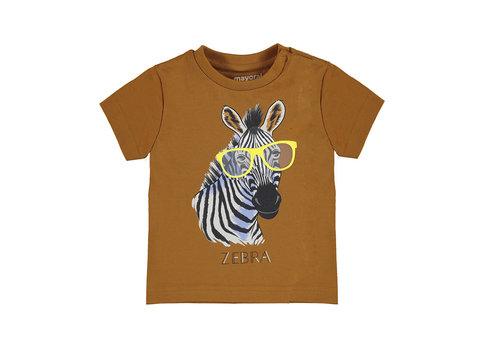 "Mayoral Mayoral S/S T-Shirt ""Play"" ""Zebra"" Caramel 1001-47"