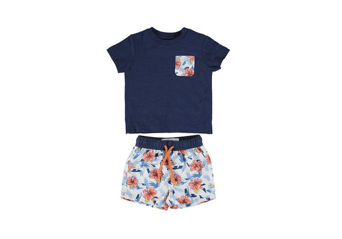 Mayoral Mayoral Bathsuit And T-Shirt Set Blue 1667-61