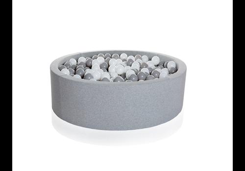 Kidkii Kidkii Ballenbad Rond Cotton Light Grey 130x30 + 250 Ballen Inclusief