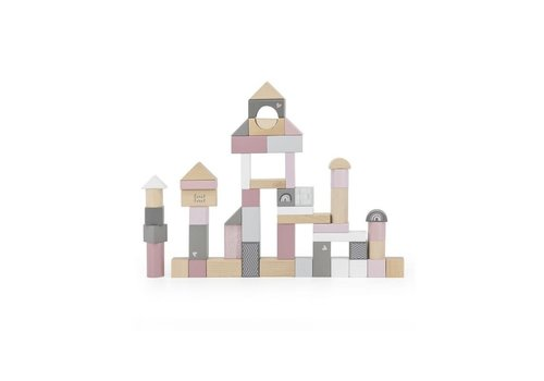 Label-Label Label Label - Wooden blocks 50pcs - Pink