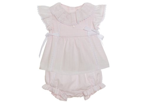 Patachou Patachou Baby Girl Top + Short - Woven Light Pink Stripes