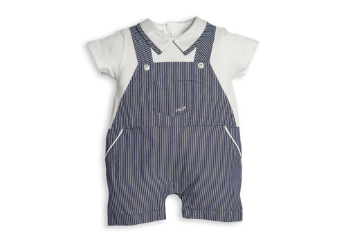My First Collection First Bo B White & Navy Short Striped Overall 0109White-Navy