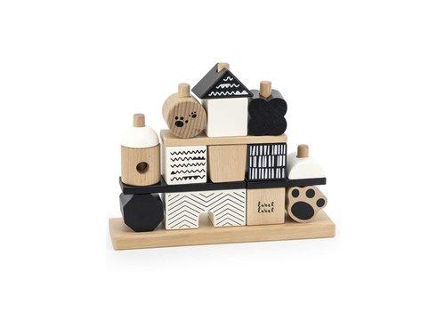 Label-Label Label Label - Stacking Blocks Panda House - Black & White
