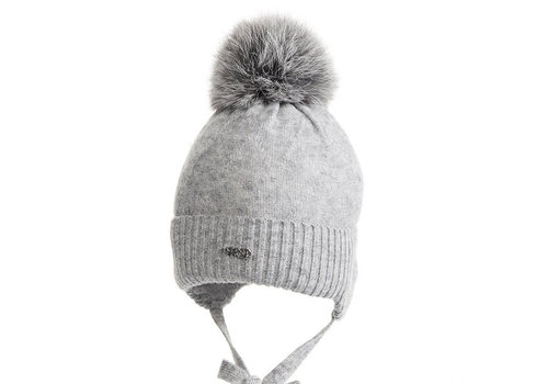 My First Collection My First Collection Pacha Knitted Bonnet Wit Fur Pompon Grey