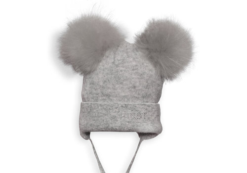 My First Collection First Pepsi Knitted Bonnet Fur 2 Pompons Grey
