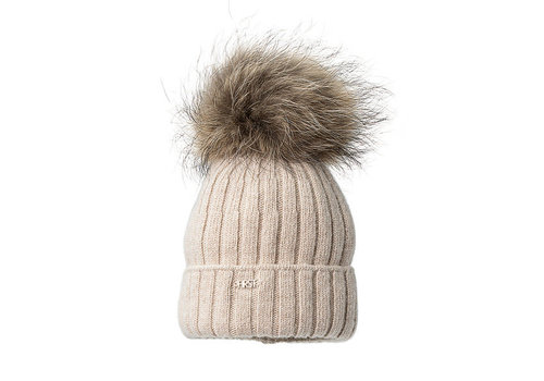 My First Collection First Vero Knitted Bonnet Fur Ponpon Beige