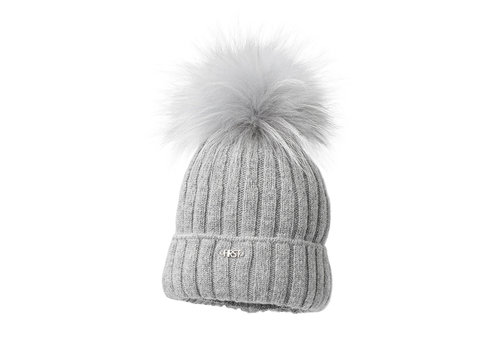 My First Collection First Vero Knitted Bonnet Fur Ponpon Grey