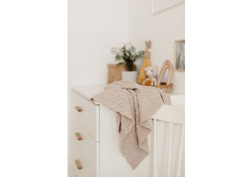 my memi my memi Braided 100% Natural Merino Wool Blanket Warm Beige - Premium Collection