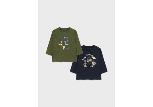 """Mayoral Mayoral 2 L/S """"Little Spy"""" Shirt Set  Hunt Green 2068-46"""