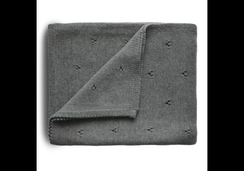 Mushie Mushie Blanket Pointelle Gray Melange