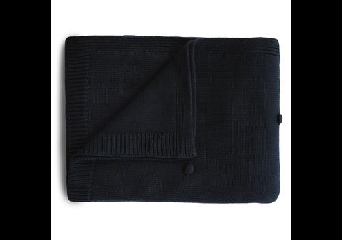 Mushie Mushie Blanket Textured Dots Dark Navy