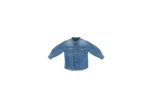 Please Please Denim Shirt With Mandarin Collar