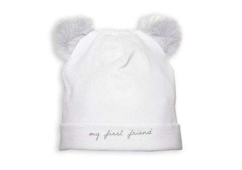 My First Collection First Bonnet Teddy Bear Ears White-Grey