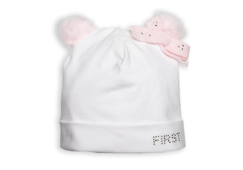 My First Collection First Fur Bonnet Teddy Bear Ears White-Pink