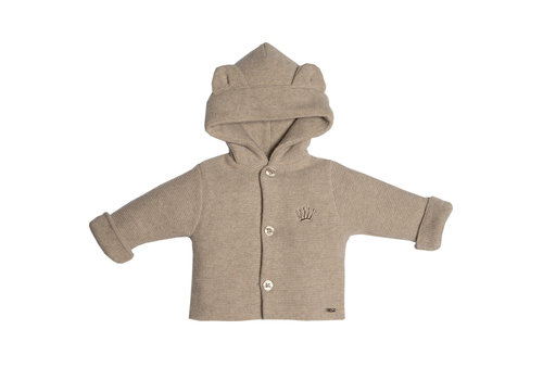 My First Collection First Knitted Coat With Hood Teddy Ears Beige
