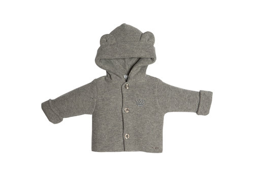 My First Collection First Knitted Coat With Hood Teddy Ears Grey