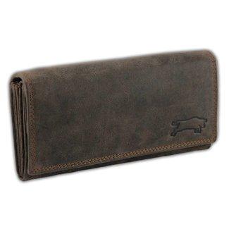 Ven Tomy Leren Dames Portemonnee met RFID Bescherming - 'L239' - Vintage Bruin