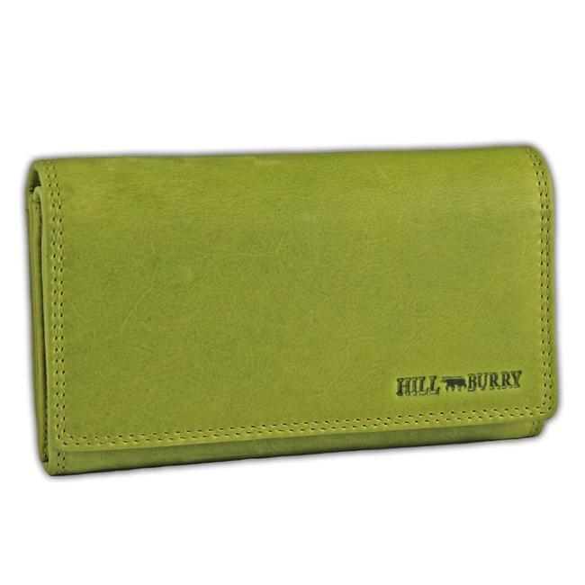 HillBurry VL77709 Leren Dames Portemonnee Overslag Model Licht groen