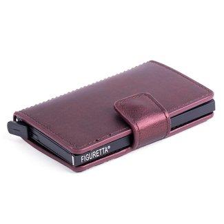 Figuretta Aluminium RFID Cardprotector PU-Leer  -  Bordeaux Rood