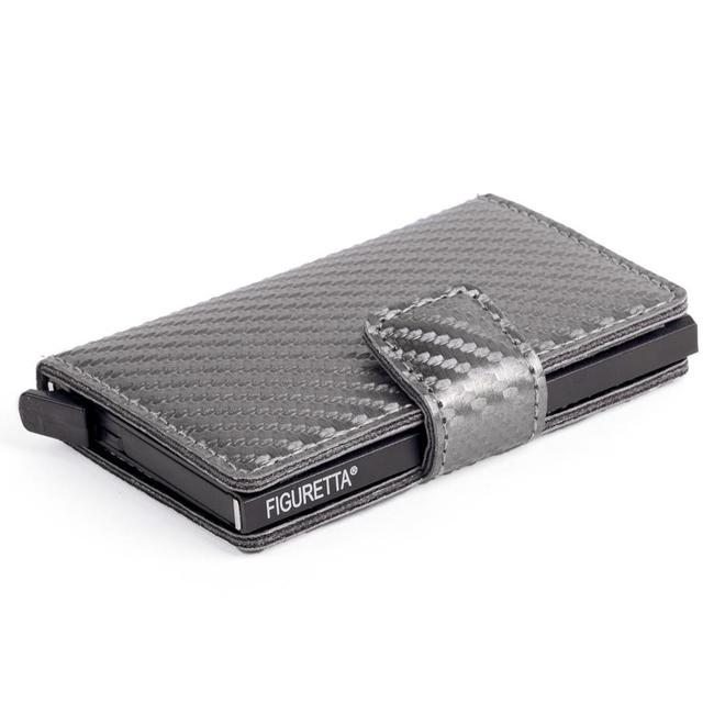 Figuretta Aluminium RFID Cardprotector PU-Leer - Carbon - Grijs