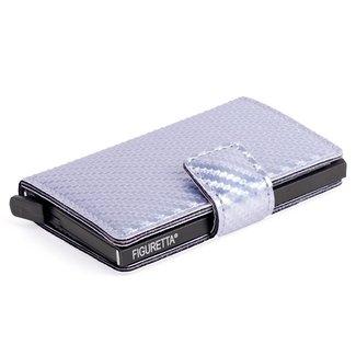 Figuretta Aluminium RFID Cardprotector PU-Leer - Carbon - Zilver