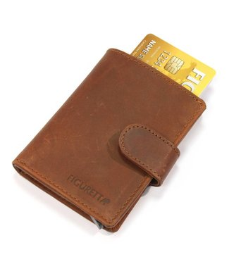 Figuretta Leren Card Protector met RFID bescherming Hunter Bruin