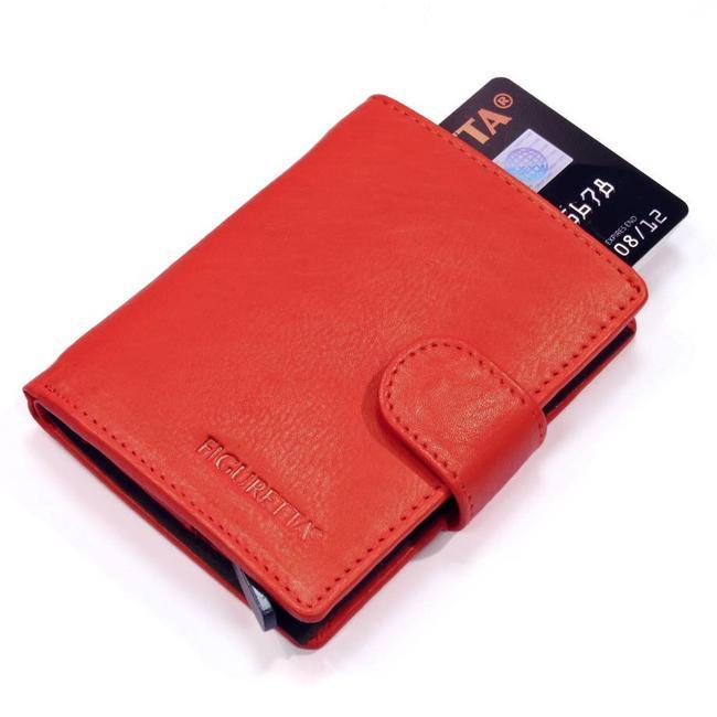 Figuretta Leren Card Protector met RFID bescherming Rood