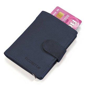 Figuretta Leren Card Protector met RFID bescherming Donker blauw