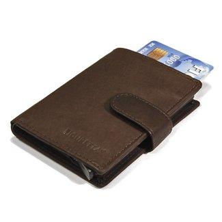 Figuretta Leren Card Protector met RFID bescherming Donker bruin
