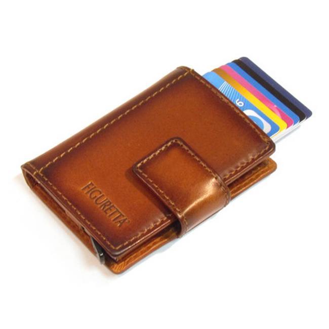 Figuretta Leren RFID Cardprotector met Muntgeldvak Burned