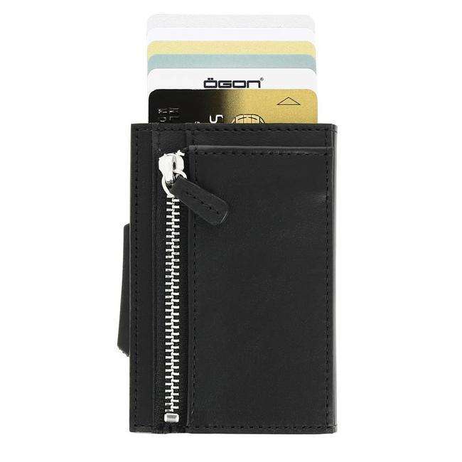 Ogon Designs Cascade Zipper Cardprotector met Muntgeldvak Zwart