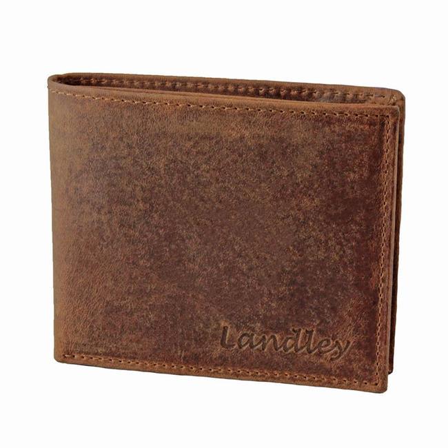 Landley Heren Portemonnee - Compacte Billfold - Robuust Vintage Leer - Bruin