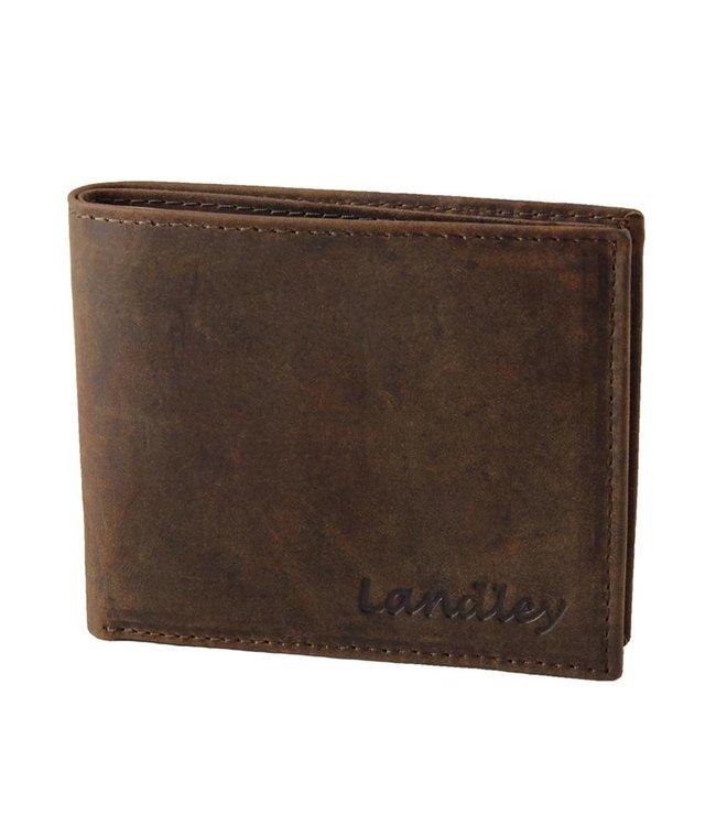Landley Heren Portemonnee - Compacte Billfold - Robuust Vintage Leer - Donkerbruin