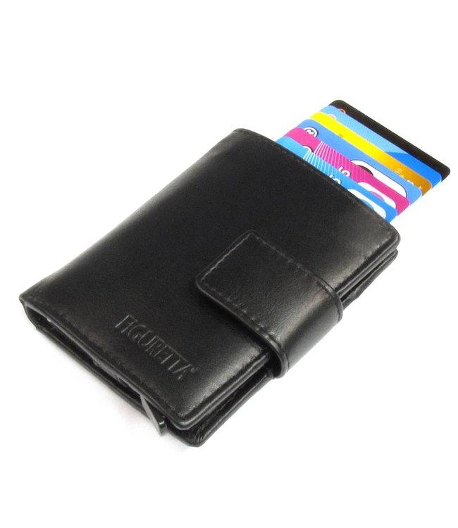 Figuretta Leren RFID Cardprotector met Muntgeldvak Zwart