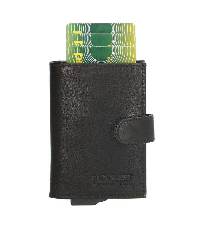 Old West Cardprotector Portemonnee Leer met RFID bescherming Zwart