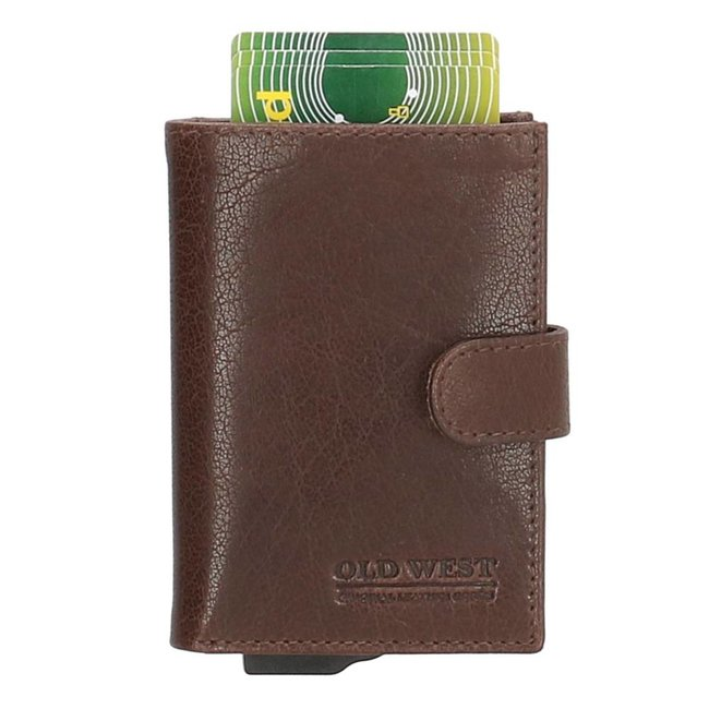 Old West Cardprotector Portemonnee Leer met RFID bescherming Bruin