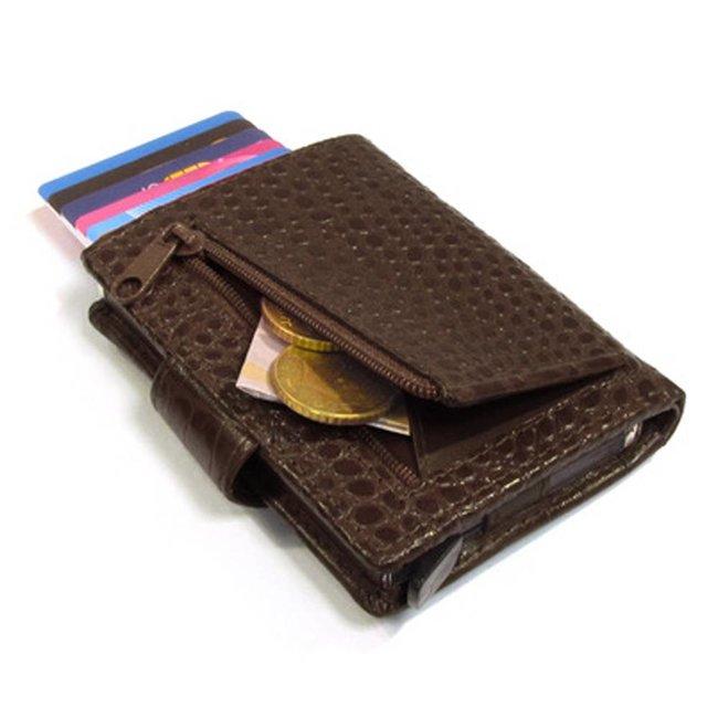 Figuretta Croco RFID Creditcardhouder Leer met Muntgeldvak Bruin