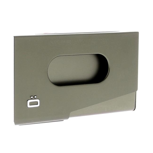 Ogon Designs One Touch Aluminium Visitekaarthouder Donker Grijs