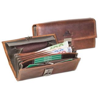 Woodland Horeca portemonnee Kelnerbeurs | Stevig Oil pull-up Leer | Bruin